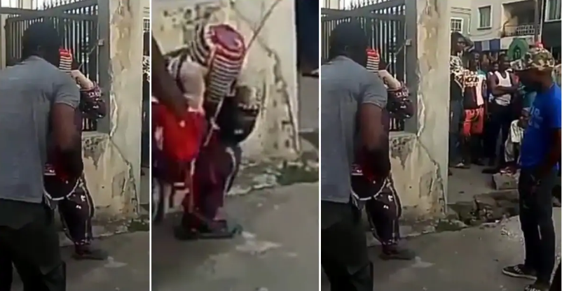 Drama As Soldiers Punish Masquerade Who Harassed Them For Money In Lagos [Video] 1