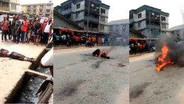 Mob Burns Suspected Robber Who Was Abandoned By His Colleagues During Operation In Aba [Photos] 12