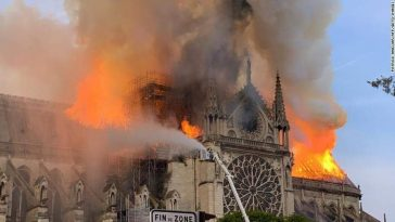 Blazing fire at 850 Year old Notre Dame Cathedral as spire collapse. 2