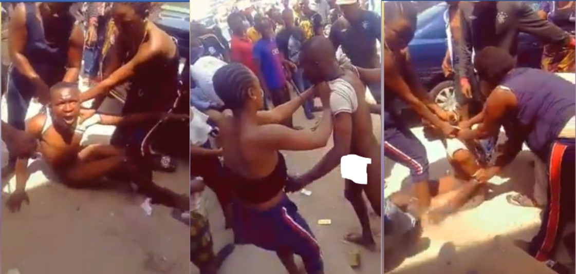 Young Man Striped Naked And Beaten Mercilessly By Ladies For Defecating in Public [Photos] 1