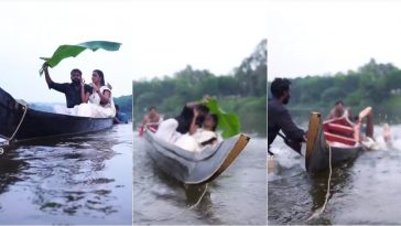 Hilarious Moment Couple Falls Into A River After Canoe Tipped During Pre-Wedding Photo Shoot 1
