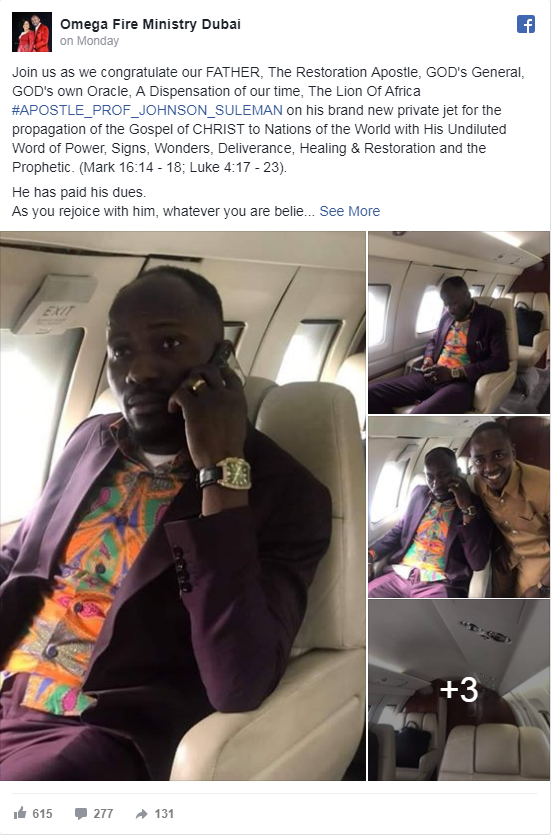 Reno Omokri replies Daddy Freeze for calling out Apostle Suleman who reportedly bought a private jet. 1