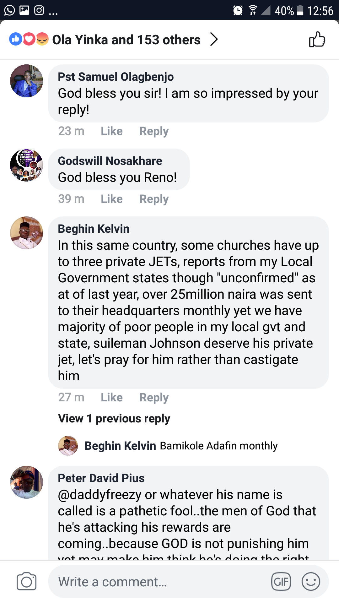 Reno Omokri replies Daddy Freeze for calling out Apostle Suleman who reportedly bought a private jet. 6
