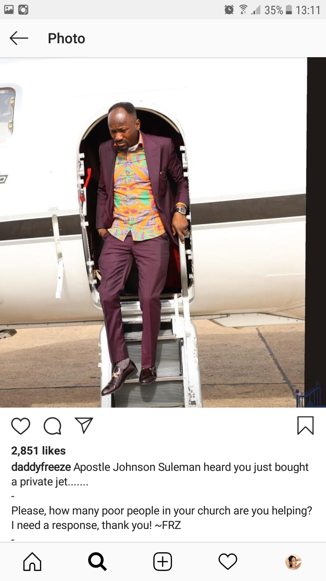 Reno Omokri replies Daddy Freeze for calling out Apostle Suleman who reportedly bought a private jet. 2