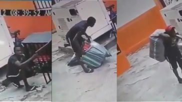 Thief Caught On CCTV Stealing Generator From A Compound In Lagos [Photos/Video] 3