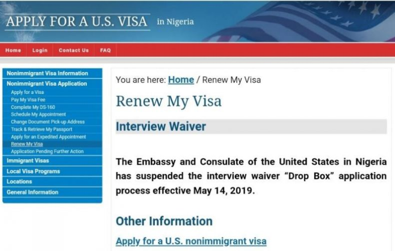 United States Embassy suspends visa interview waivers 'Drop Box' in Nigeria 1