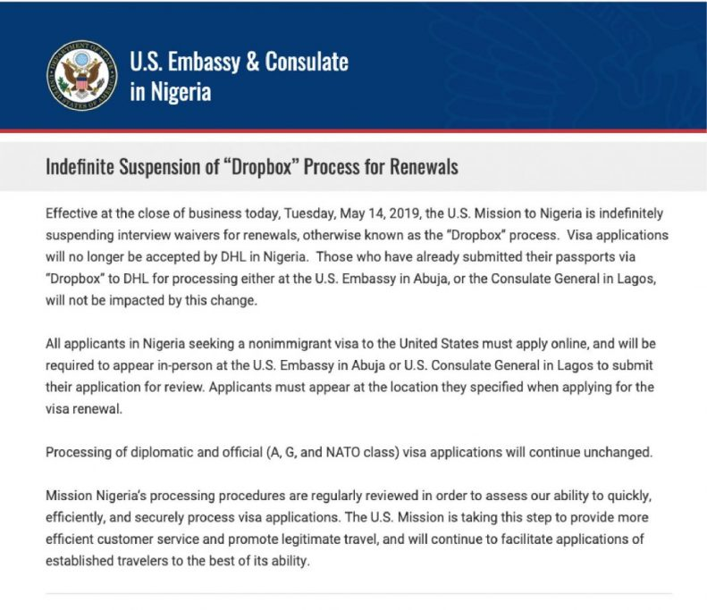 United States Embassy suspends visa interview waivers 'Drop Box' in Nigeria 2
