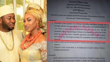 Tonto Dikeh's Ex-husband, Olakunle Churchill Featured On UNN Exam Question 3