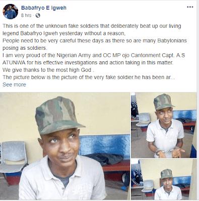 Nigerian Army Arrests 'Soldier' Who Attacked Veteran Musician Baba Fryo In Lagos [Photos] 3