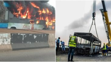 Panic As BRT Bus Burst Into Flames On Third Mainland Bridge In Lagos [Video] 4