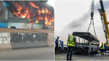 Panic As BRT Bus Burst Into Flames On Third Mainland Bridge In Lagos [Video] 2
