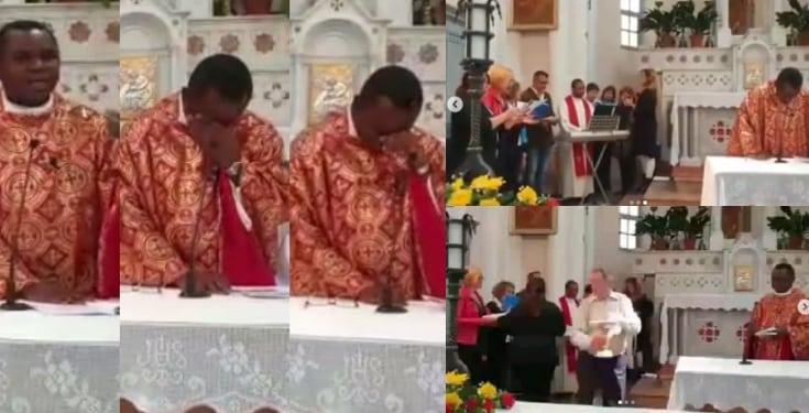 Nigerian Priest In Switzerland Breaks Down In Tears As His Parishioners Sang Him An Igbo Song [Video] 1