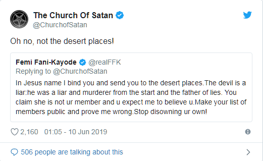 Ex-Nigerian Minister, Fani-Kayode Clashes With America-Based 'Church Of Satan' On Twitter 5