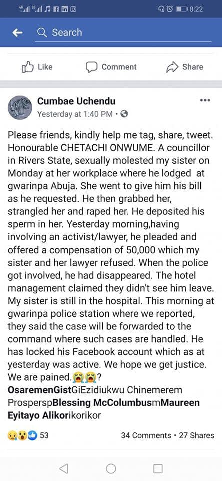Lady Goes On 'One Man' Protest After Rivers Lawmaker Allegedly Raped Her Sister In Abuja 2
