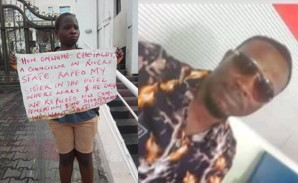 Lady Goes On 'One Man' Protest After Rivers Lawmaker Allegedly Raped Her Sister In Abuja 1