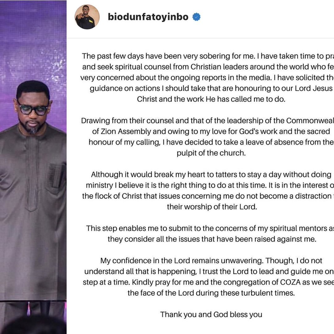 Breaking News: COZA's Pastor Biodun Fatoyinbo Finally Steps Down Over Rape Allegations 2