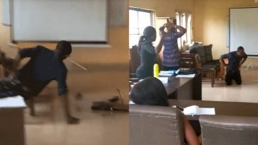 Anambra University Lecturer Falls In Class, Smashes Laptop To Teach Students Effect Of ICT [Photos/Video] 6