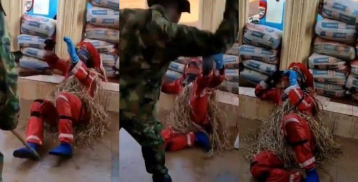 Viral Video Of Masquerade Begging For Mercy While Being Flogged By Nigerian Soldier 1