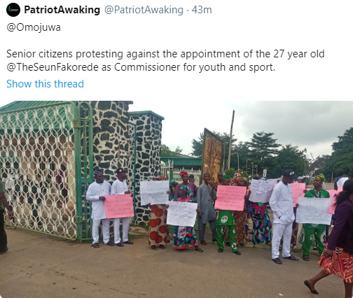 Oyo Elders Protest Against Having 27-Years-Old As Commissioner For Youth Affairs 2
