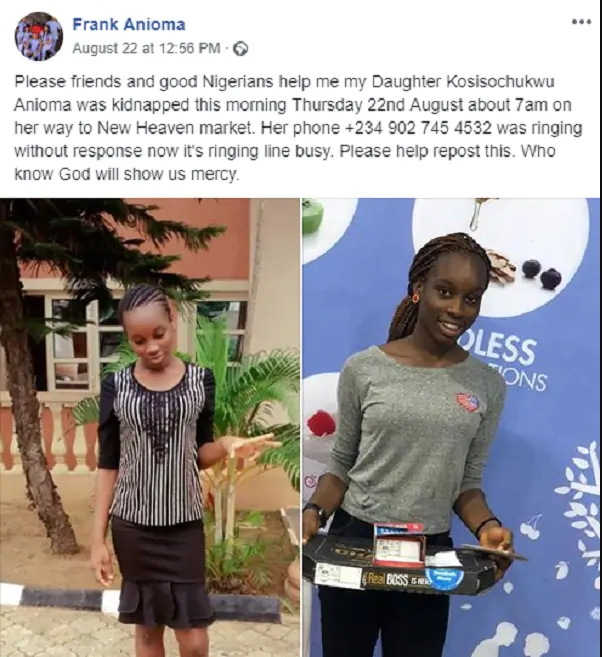 14-Year-Old Daughter Of Enugu Politician Fakes Own Kidnap, To Be With Boyfriend In Owerri 2