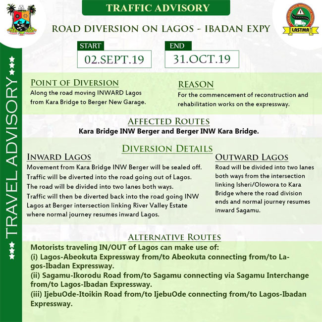 Lagos-Ibadan Expressway Partially Closed From Today Till 31st Of October 2019 [DETAILS] 2
