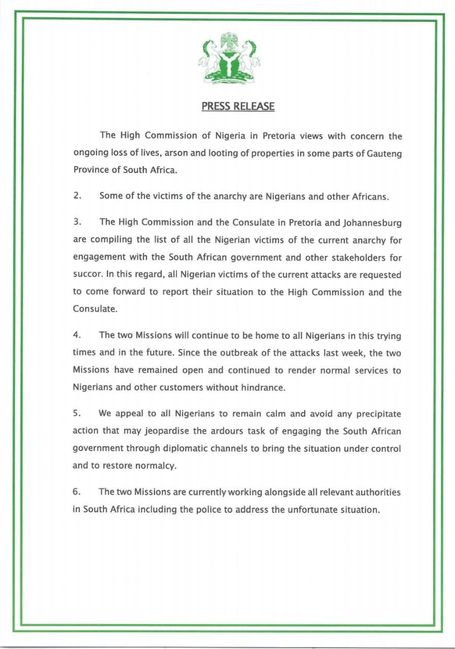 Nigerian High Commission In South Africa Invites All Victims Of Xenophobic Attacks 2