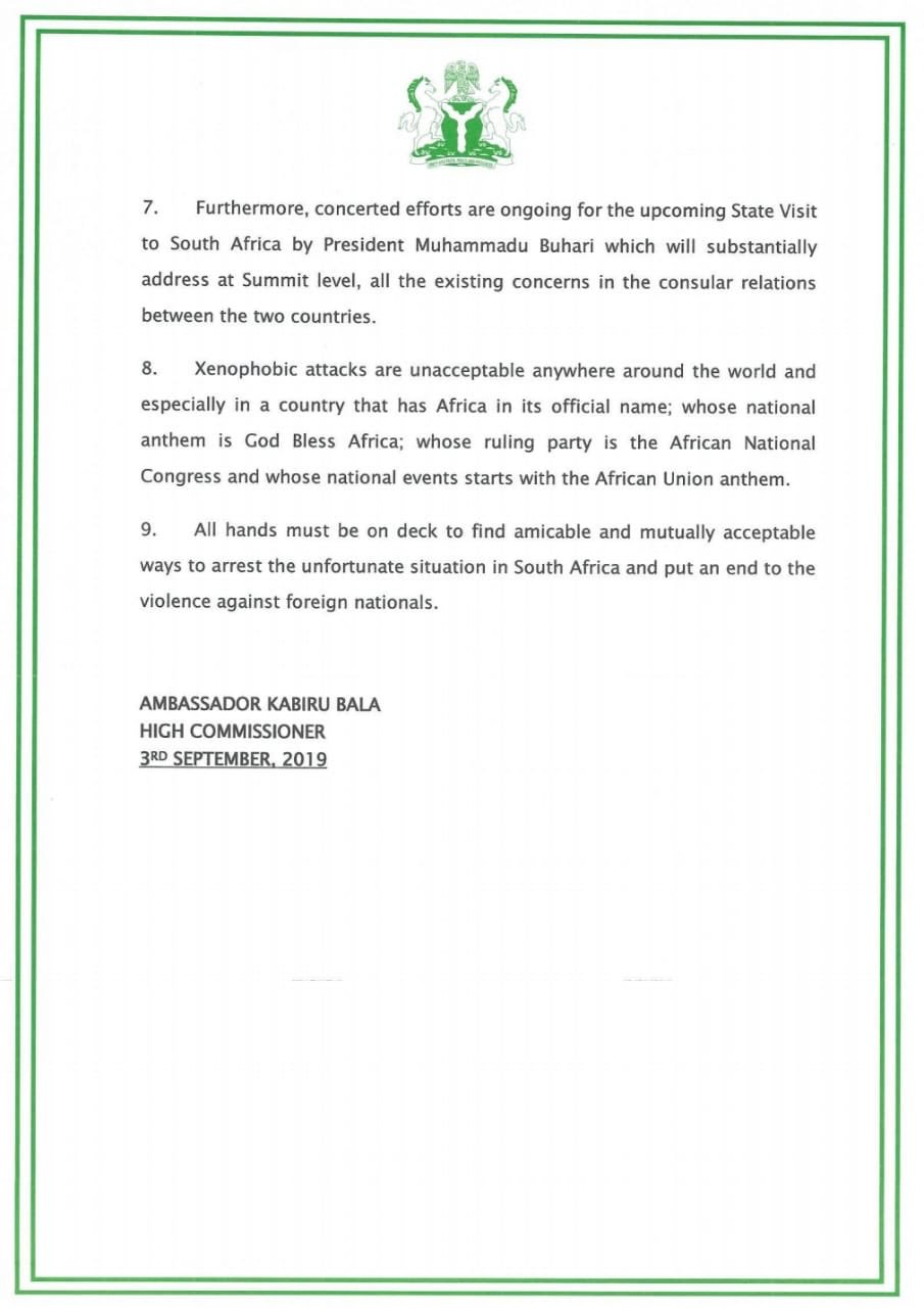 Nigerian High Commission In South Africa Invites All Victims Of Xenophobic Attacks 3