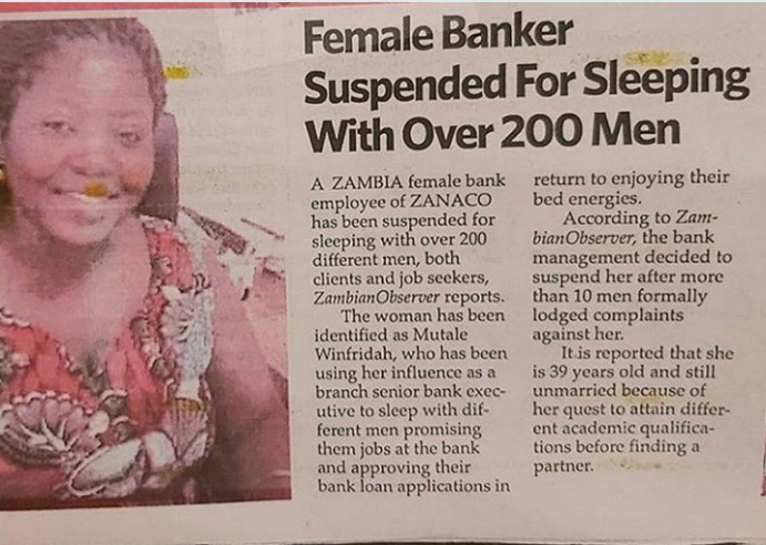 Female Banker, Mutale Winfridah Suspended For Sleeping With Over 200 Clients And Job Seekers 2