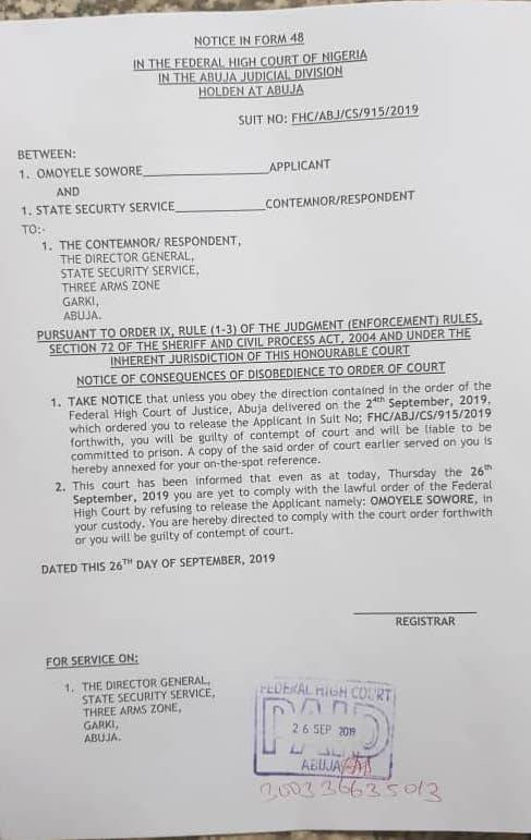 Federal High Court Orders DSS Boss To Release Sowore Or Go To Jail For Disobedience 2