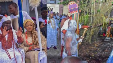 Ooni Of Ife And His Prophetess Wife Worship Idols At The Olojo Festival In Osun [Photos] 8