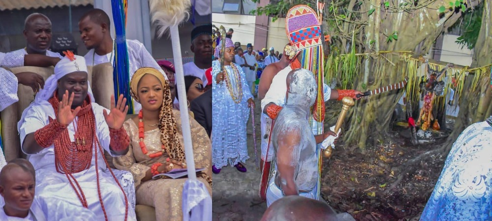 Ooni Of Ife And His Prophetess Wife Worship Idols At The Olojo Festival In Osun [Photos] 1