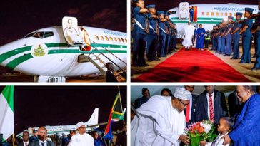 President Buhari, 10 Governors And Ministers Arrives South Africa For Three-Day Visit 7