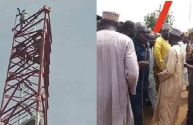 Man Climbs Mast In Kebbi, Vows Not To Come Down Till President Buhari Resigns [Photos] 1