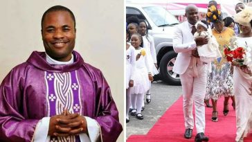 Catholic Priest Who Dumped Priesthood For Marriage, Dedicates His Child In Style [Photos] 7