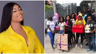 BBNaija: Tacha Surprised As Fans Storm Radio Station To Serenade Her With Loads Of Gifts 12