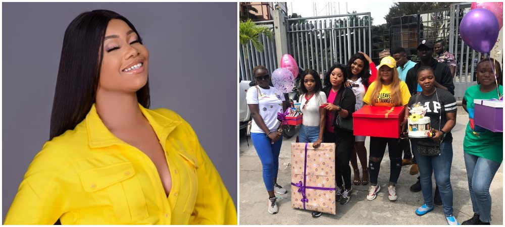 BBNaija: Tacha Surprised As Fans Storm Radio Station To Serenade Her With Loads Of Gifts 1
