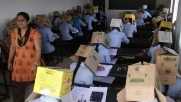 School Makes Students Wear Cardboard Boxes To Prevent Exam Malpractice [Photos] 7