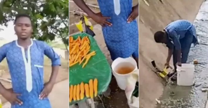 Outrage As Carrot Seller Caught On Camera Washing His Carrots Inside A Gutter [Video] 1