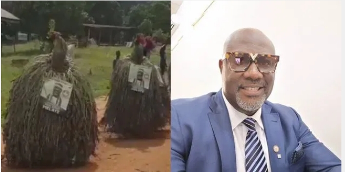Melaye Takes Campaign To Another Level As Masquerades Spotted Carrying His Poster [Video] 1