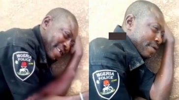Viral Video Of A Drunk Nigerian Police Officer  Lying By Roadside, Revealing Why They Didn't Give Him A Gun 3