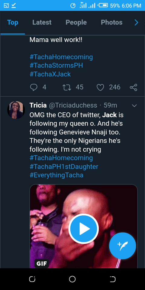 Twitter CEO, Jack Dorsey Follows Tacha On Twitter As The Second Nigerian On His List 3