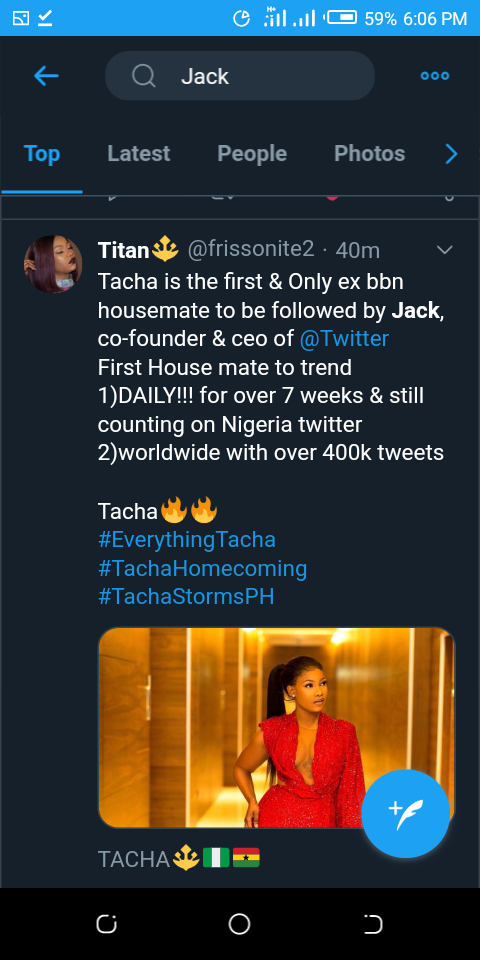 Twitter CEO, Jack Dorsey Follows Tacha On Twitter As The Second Nigerian On His List 5