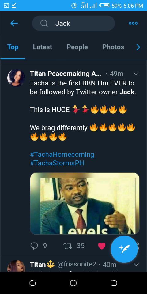 Twitter CEO, Jack Dorsey Follows Tacha On Twitter As The Second Nigerian On His List 6