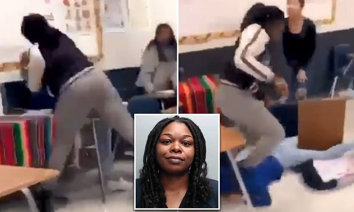 Angry Female Teacher Caught On Camera Brutally Beating A 15-Year-Old Student [Video] 1