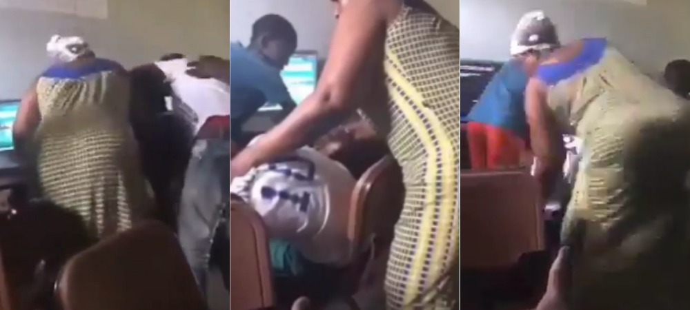 Nigerian Mum Storms Betting Centre, Beats Gambling Addiction Out Of Her Son [Video] 1