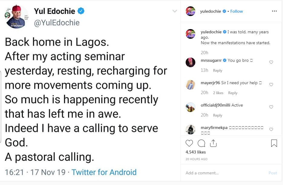 Nollywood Actor, Yul Edochie Announces His 'Pastoral Calling' From God After Failing In Politics 2