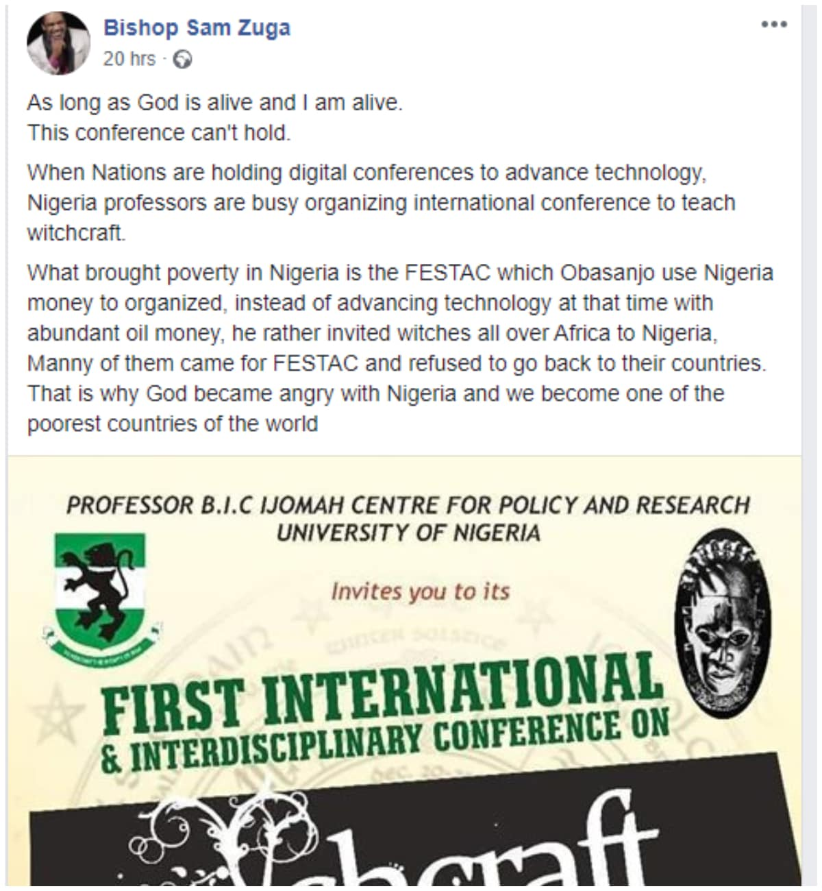 Bishop Sam Zuga Vows To Stop UNN From Hosting 'First International Witchcraft Conference' 2