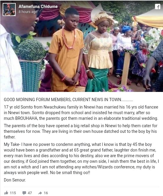 17-Year-Old Boy Marries 16-Year-Old Girlfriend After Pressurizing Parents In Anambra 2