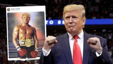 US President, Donald Trump Shares Photoshopped Shirtless Image Of Himself As A Boxer 7