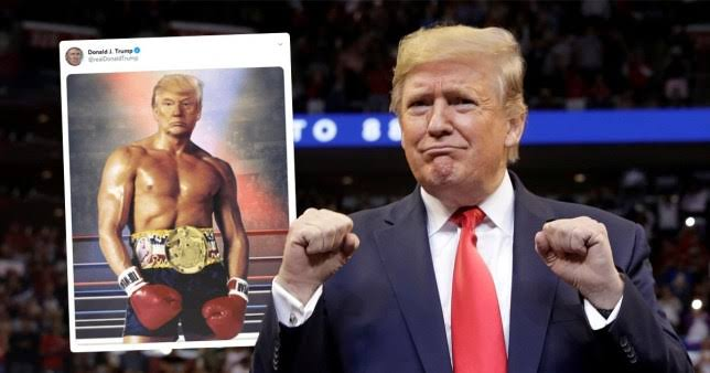 US President, Donald Trump Shares Photoshopped Shirtless Image Of Himself As A Boxer 1